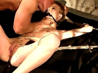 Sexy brunette babe has the wildest experience as she is blind folded and banged hard