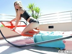 Cayenne Klein gets her many times used mouth banged again by horny man