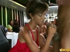 Slim Ebony Babe gets Jizzed by the Big Black Stripper
