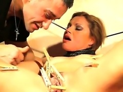 Blonde slut Szilvia Lauren loves getting hard pounded in nasty bdsm porn session
