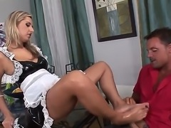 Sexy blonde babe has the time of her life as she enjoys playing with cock...
