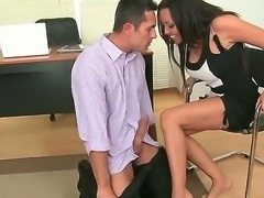 Sexy luscious Rio Lee gets her cute feet licked giving her dude a nice footjob before a nice hardcore action