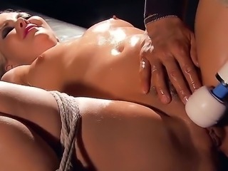 Petite pale Aaliyah Love with dark make up gets tortured by Keni Styles in bondage fantasy