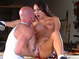 Brunette hot ass babe Asa Akira gets her muff drilled and fingered before...