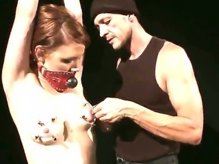 Master is punishing bounded Hellena with painful nipple clamps for being such a lusty slut