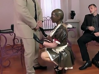 Attractive tempting and submissive blonde pornstar Latex Lucy with bouncing ass and pretty face in latex housemaid uniform and stripper shoes get nailed in rough threesome by two filthy studs.