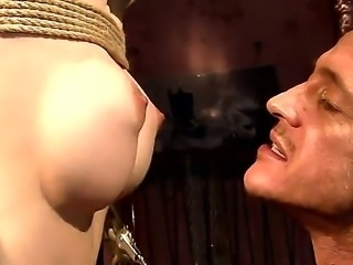 Bounded blonde Isabell Cat gets her beautiful tits tortured during hardcore bdsm sex