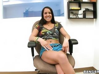 Chachita Kim Capri with tiny tits bounces up and down on fuck stick