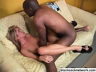 Teen sucks and fucks monster black cock