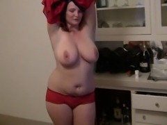 wife dances for hubby and friend