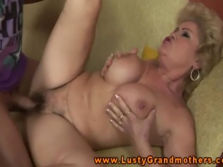 Blonde busty mature GILF amateur nailed on the couch