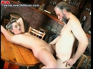 Nasty blonde is sat on a chair rubbing