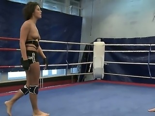 Sexy boxing babes get into an erotic nude fight as they struggle to achieve...