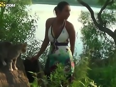 Superb Jocelyn enjoys teasing and posing her sexy body in outdoor session