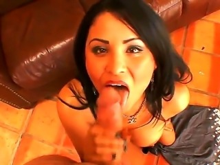 Horny brunette slut Sofia Lomeli likes to suck and swallow in true porn sessions