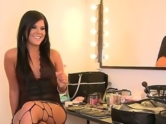 Bewitching Madison Parker in sexy fishnet stockings in talking about her foot...