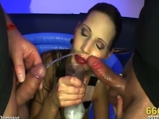 Gorgeous brunette Viktoria joined a wet and wild orgy and the guys LOVED her! She gave AMAZING head, got pussy pounded and drank lots and lots of hot piss! Watch now!