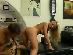 Ready for some fun Rocco fucks a babe bareback over his desk, his leather...