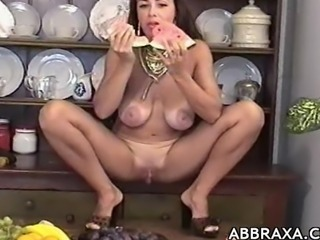 Abbraxa uses a banana and a corn stick as improvised sex toys