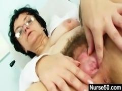 Old lady head nurse kinky hairy pussy spreading free