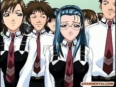Hentai schoolgirls sucking stiff cock in the toilet