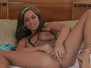 Sweet horny gal Melissa XoXo loves ramming her pussy with a fat dildo. She lifts one of her legs up and inserts her dildo deep inside her dripping wet twat.