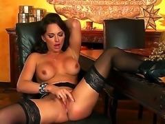 Stunning glamorous black haired bombshell Destiny Dixon with arousing heavy...