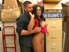 This sweet ebony chick cant hold her tits inside her blouse. As soon as they...