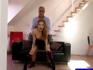 Brunette amateur in lingerie plowed