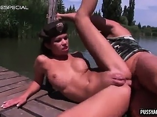 Brunette army babe getting fucked anally outdoors