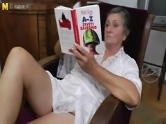 HAIRY GRANNY MASTURBATING AND FANTASIZING ABOUT A HOT YOUNG STUD FUCKING HER!...