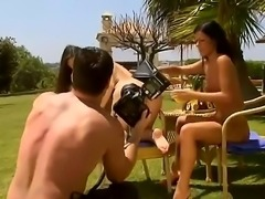 Eve Angel and her not less sexual girlfriend are spending nice time ouside in...