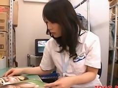 Japanese AV pretty Model licks cock while fingered