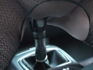 Homemade amateur girl having fun in a car