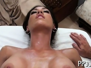 Sexy massage with wet blowjob