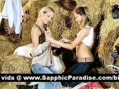 Naughty blonde and redhead lesbians kissing and licking nipples and having...