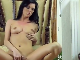 Mesmeric raven haired beauty Eileen sits down and spreads her legs before...
