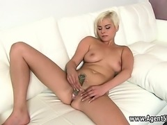 Blonde toys herself and gets fucked by her agent