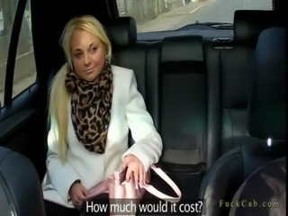 Shaved pussy blonde secretary fucked in fake taxi free
