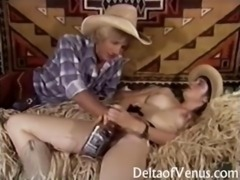 Hairy cowgirl gets banged in a Vintage Porn
