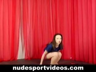 Skinny naked teen babe doing sports