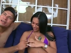 Latina hottie with nice butt and breasts is going to have relaxation with...