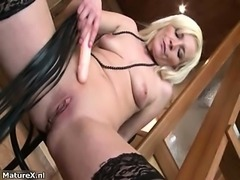 Dirty blonde mature whore gets horny