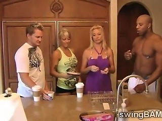 Wild orgy with a bunch of blonde hotties in XXX reality show