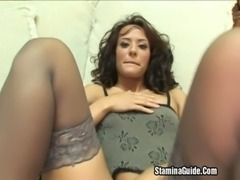 Brunette MILF Fucked Hard Along With A Facial free