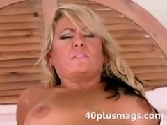 Divorced blonde Milf goes anal free