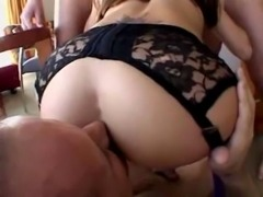 Hot Brunette Fucked By Group