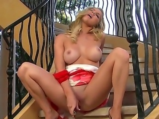 Ainsley Addison with massive breasts and hairless cunt cant stop touching her hole