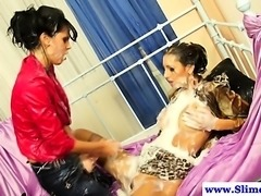 Dominating femdom uses strapon on lesbian
