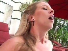 Turned on blonde Britney Lace with natural tits and french manicure in...